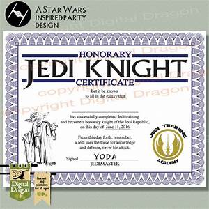 star wars jedi knight party certificate printable With star wars jedi certificate template free