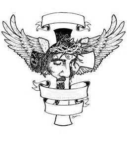 Jesus Cross with Wings Drawing
