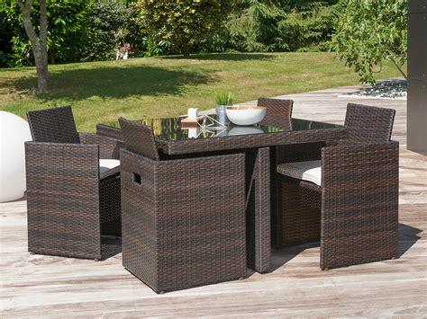 table de cuisine rabattable salon de jardin encastrable 4 places table 105x105cm en