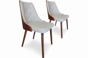 Lot De Chaises Design Pas Cher : lot de 2 chaises scandinaves cadix bois noisette cr me chaise design pas cher ~ Melissatoandfro.com Idées de Décoration