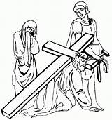 Jesus Cross Clipart Coloring Christ Pages Colouring Drawings Stations Carrying Drawing Clip Cliparts Way Friday Lent Many sketch template