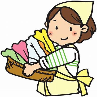 Laundry Clipart Basket Woman Washing Cartoon Clip