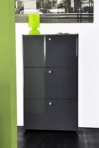 Meuble Gris Laqué : meuble chaussures laque gris ~ Nature-et-papiers.com Idées de Décoration