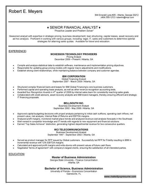 Senior Finance Manager Resume by Senior Financial Analyst Resume
