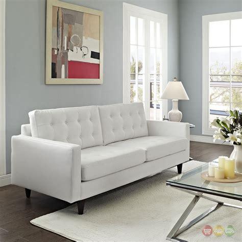 Contemporary White Sofa by Empress Contemporary Button Tufted Leather Sofa White