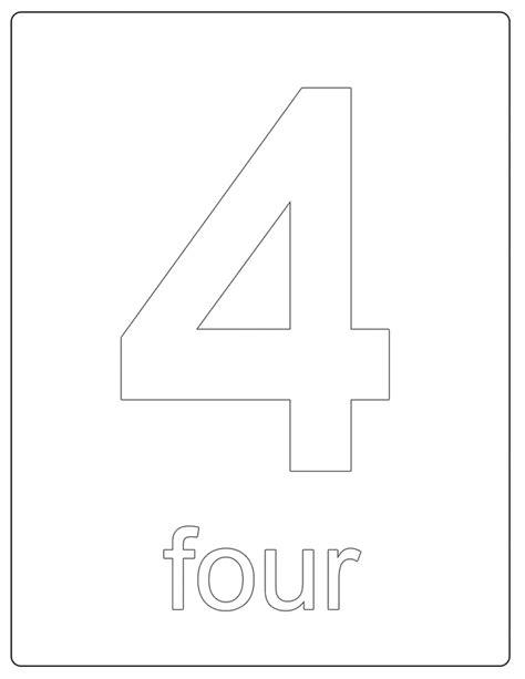 printable numbers number 4