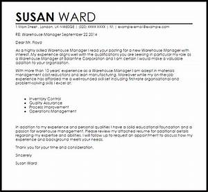warehouse manager cover letter sample livecareer With cover letter for warehouse manager position