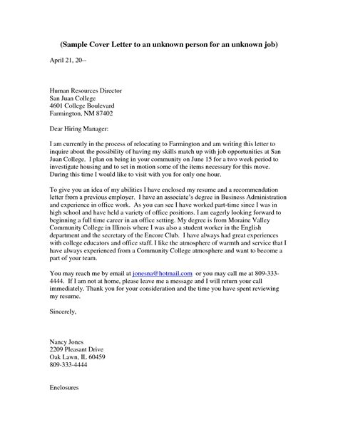 how to address cover letter to unknown cover letter to unknown recipient the letter sle