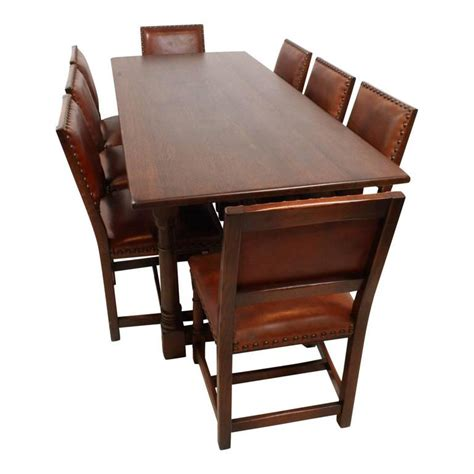 oak dining table and 8 chairs for sale mid 20th century oak dining room table with eight leather