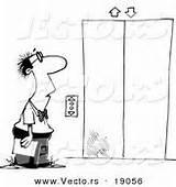 Elevator Coloring Cartoon Template Waiting Leishman Ron sketch template