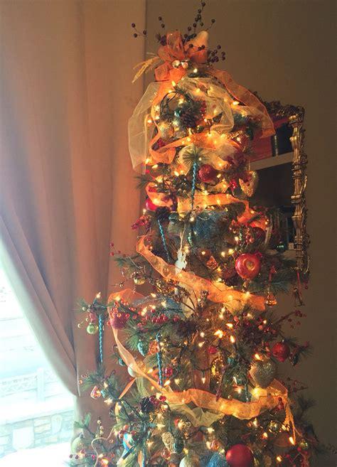 burnt orange holiday xmas decor tree with burnt orange and golden colors golden decor golden