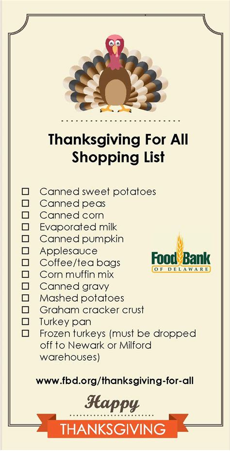 thanksgiving items list thanksgiving for all food drive update active adults delaware blog