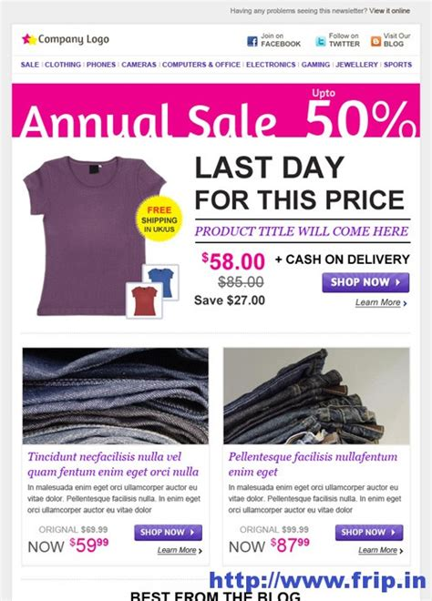 Email Template Shopping by Best 40 Shopping Ecommerce Email Templates Frip In