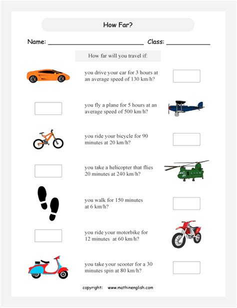 grade 5 or 6 math speed worksheet based on metric units of