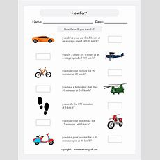 Grade 5 Or 6 Math Speed Worksheet Based On Metric Units Of Speed And Distance Calculate The