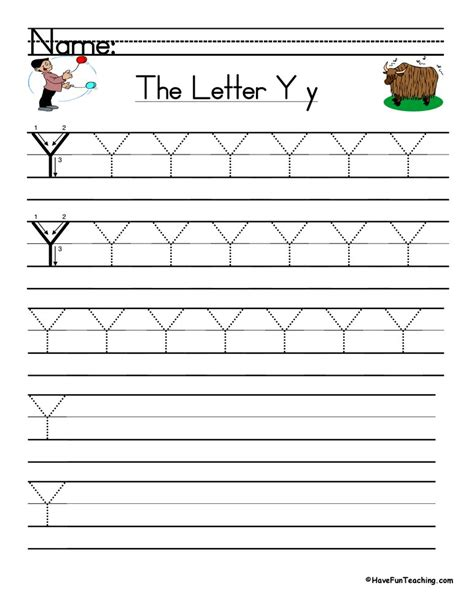 letter y handwriting practice teaching