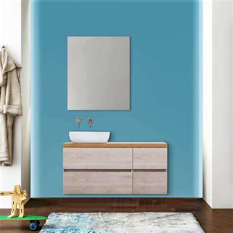 specchio bagno con mensola e mobile bagno sospeso per lavabo d appoggio con mensola