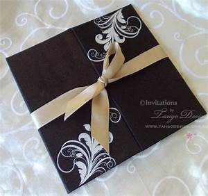 black fabric wedding invitations with white or silver With wedding invitations printed on fabric