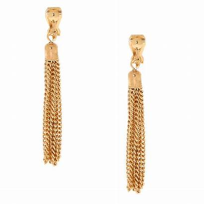 Earrings Drop Clip Tassel Gold Claire