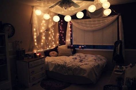bedroom 2 with string lights and faux canopy for the