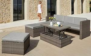 Polyrattan Tisch Höhenverstellbar : loungeset lagos premium 13 tlg 3er sofa 3 hocker tisch polyrattan braun online kaufen ~ Eleganceandgraceweddings.com Haus und Dekorationen