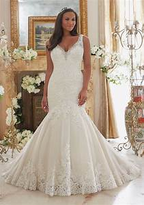 plus size wedding dress with lace on tulle style 3204 With plus wedding dress