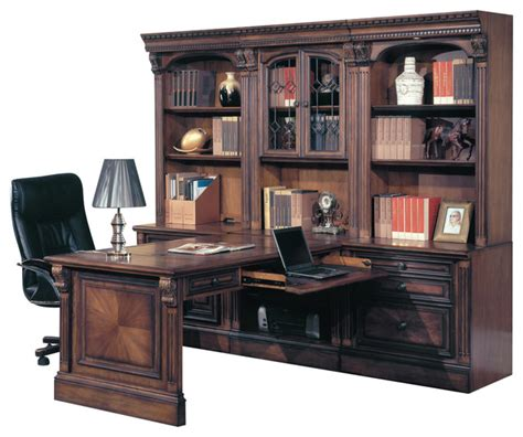 desk with bookcase attached huntington office peninsula desk wall unit 7 piece