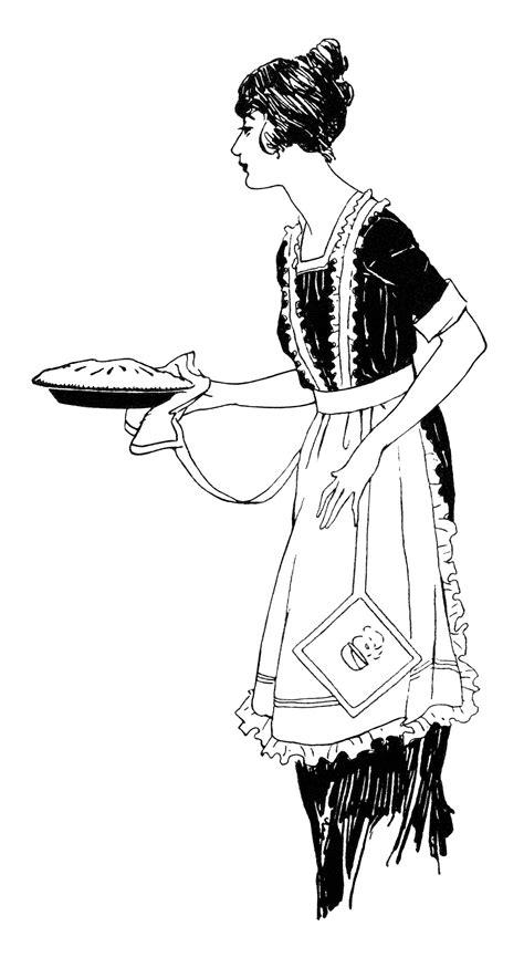 woman carrying pie  vintage clip art  design