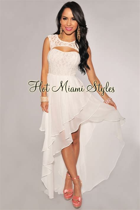 white lace top tiered high  dress