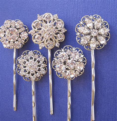Wedding Accessories Hair Pins 5 Hair Pins Rhinestone