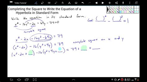 Completing The Square To Write The Equation Of A Hyperbola In Standard Form Youtube