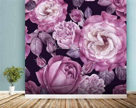 Ultra Violet Roses Dark Floral Wallpaper