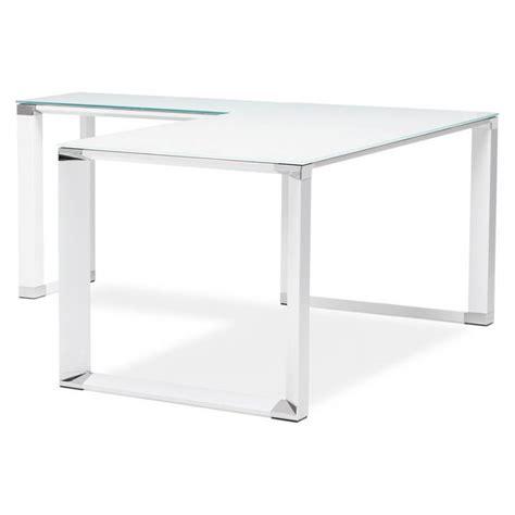 bureau d angle verre bureau d 39 angle design master en verre trempé blanc