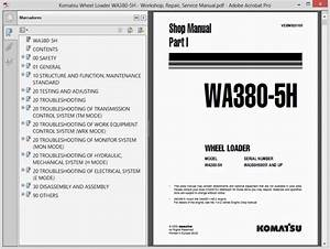 Komatsu Wheel Loader Wa380-5h - Service Manual