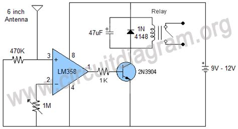 Contactless Mains Detector Relay Switch Circuit Diagram
