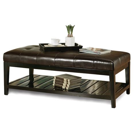 Nathan james nelson coffee table ottoman, living room entryway bench with faux leather tuft and matte iron frame, gray/black. 2020 Latest Original Leather Ottoman Coffee Table Rectangle High Quality