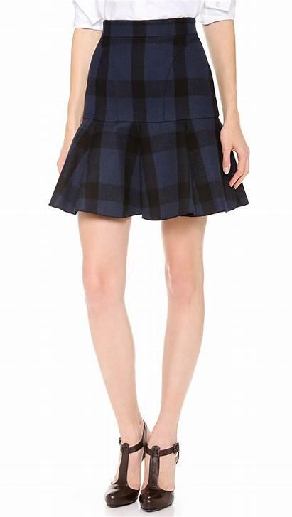 Skirt Flounce Short Check Skirts Mini Shopbop