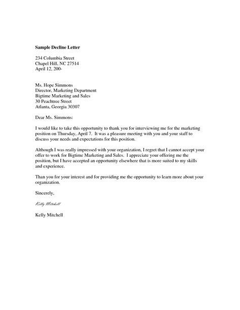 decline business letter sample business