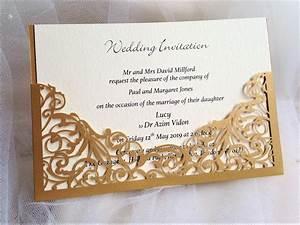 Gold pocket laser cut wedding invitations gbp2 each for Wedding invitations pocket style uk