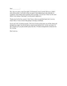 Neighbor Party Complaint Letter