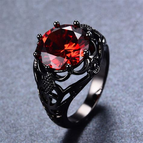 red ruby wedding womenman rings solid kt black
