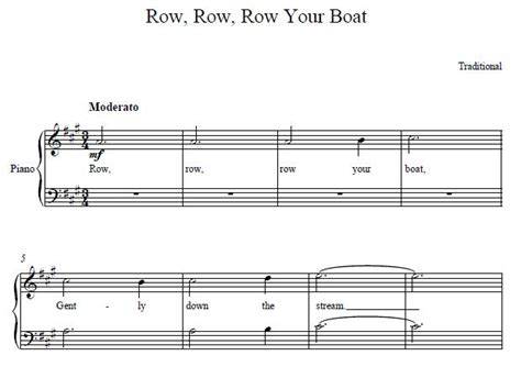 Row Your Boat Piano Sheet Music by Row Row Row Your Boat Easy Piano Sheet Music