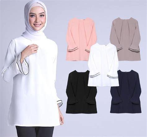 kemeja putih perempuan muslim blouse model baju muslimah batik terbaru 2018