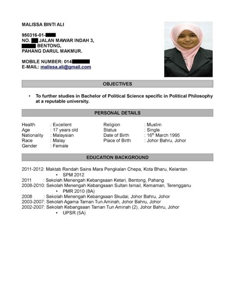 Contoh Resume Student by Contoh Resume Terbaik Dalam Bahasa Melayu Sles Of Resumes