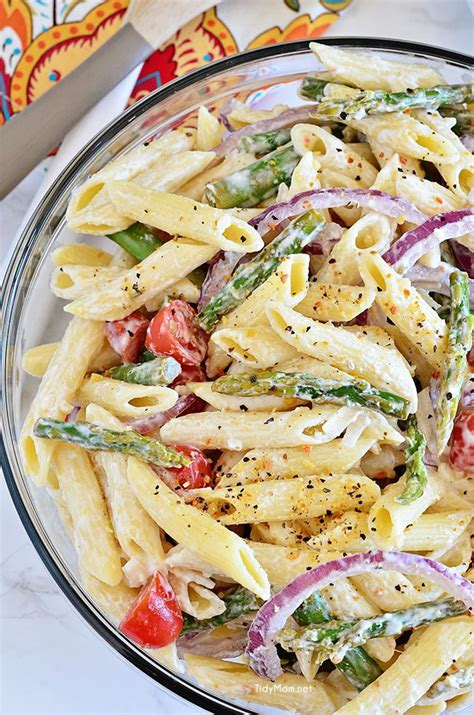 side dish with bbq chicken asparagus pasta salad with creamy lemon dressing tidymom 174