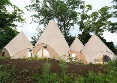 teepee shaped home complex   mountains  japan