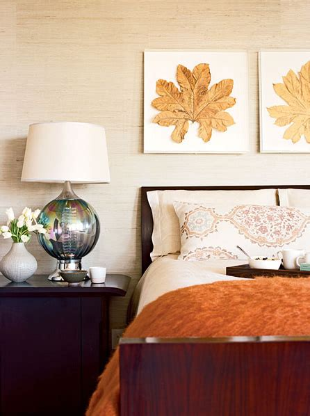cozy bedroom fall autumn decorating rust inspired decor orange diy room interior leaves framed farmhouse leaf beige thelennoxx colors pressed