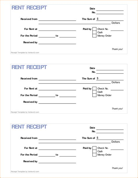 printable rent receipt authorizationlettersorg