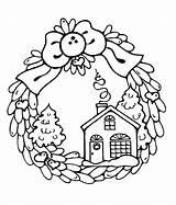 Coloring Winter Printable Wreath sketch template