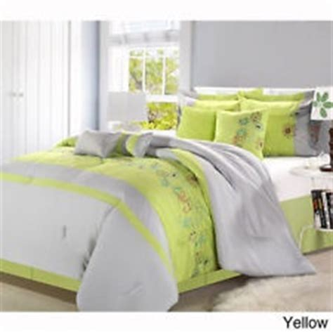 Lime green grey queen 8 p comforter set bed in a bag girls teen bedroom bedding Green, Bags